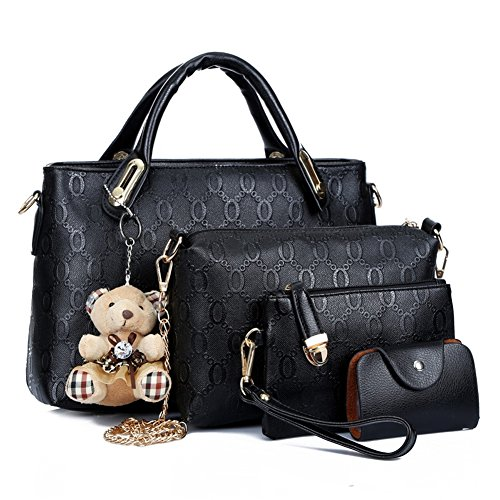 4 in 1 Fashion Women PU Leather Handbag Shoulder Bag Tote Bag Purse Bags Set