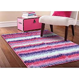 Colorful Your Zone Striped Shag Non-Skid Rug, Pink, 3\'8\