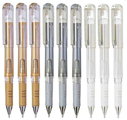 Pentel Color Surtido Paquete Híbrido Agarre De Gel DX Metálico Plumas De Gel Amplia 1mm Punta Punta 0.5mm Ancho De Línea Tinta de gel K230-XO (3 De Cada Color - 9 Plumas - Blanco, Oro Metálico, Plata Metálica)