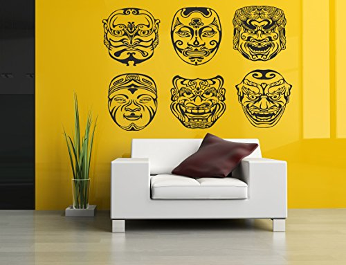 Wall Room Decor Art Vinyl Sticker Mural Masks Asian Japanese Nogaku Mask AS137