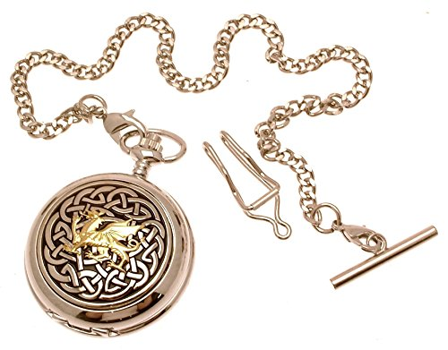 Pocket watch - Solid pewter fronted mechanical skeleton pocket watch - Two Tone celtic knot with dragon design 59