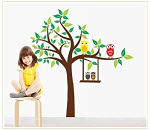 Tarmader Tree Branch with Two Four Owls Removable Wall Decal for Nursery Room Wall Decor Sticker