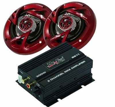 300W Auto Musikanlage Verstärker Endstufe Lautsprechersystem Paar Boxen CAR-157 von etc-shop - Reifen Onlineshop