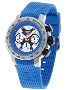 DETOMASO unisexuhr Quarz Edelstahlgehäuse Silikonarmband Mineralglas LUCCA Chronograph Trend mehrfarbig/blau DT1017-C