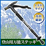 ライト付伸縮杖。方位磁石・クッション付でトレッキングや登山に