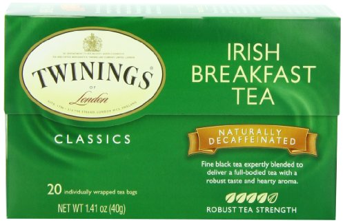 Twinings Irish Breakfast Decaf Tea, Tea Bags, 20-Count Boxes (Pack of 6)