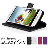 GMYLE(R) Black PU Leather Slim Fit Wallet Purse Smart Case Cover Stand with Auto Wake Up Sleep Function for Samsung Galaxy S4 i9500 S IV