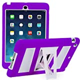 i-Blason ArmorBox 2 Layer Full-Body Case Protection Kick Stand with Built-In Screen Protector for Apple iPad mini with Retina Display (iPadmini2-ABH-Purple/White)