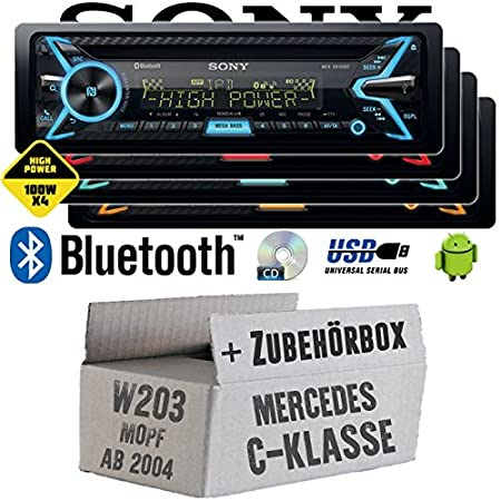 Mercedes C-Klasse W203 MoPf - Sony MEX-XB100BT - Bluetooth | CD | MP3 | USB | 4x100 Watt Autoradio - Einbauset
