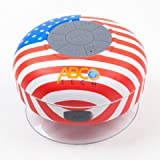 Abco Tech Water Resistant Wireless FM Radio Bluetooth Shower Speaker with Suction Cup and Hands-Free Speakerphone US Flag