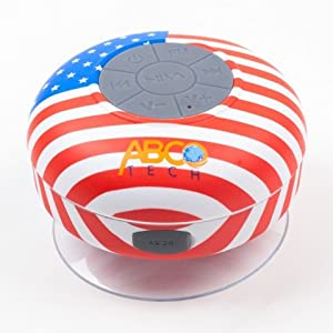 Abco Tech Water Resistant Wireless FM Radio Bluetooth Shower Speaker with Suction Cup and Hands-Free Speakerphone, US Flag