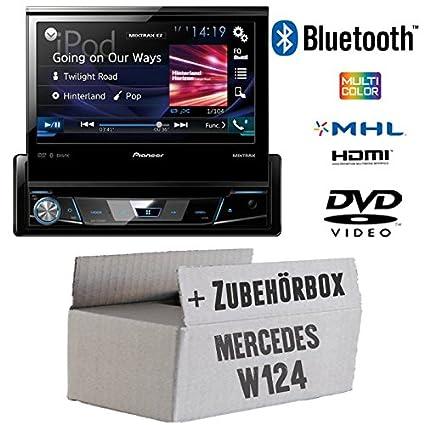 Mercedes W124 - Pioneer AVH-X7800BT - 1-DIN 7-Zoll USB Bluetooth DVD - Autoradio - Einbauset