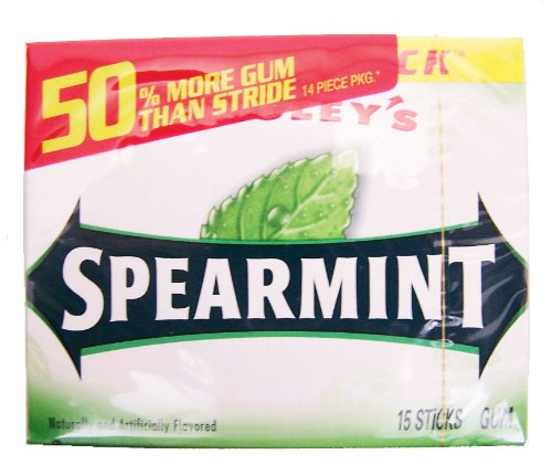Spearmint Gum Slim Pack 15 Stick, 10 Ct Size, 12 Pack (022000006653)