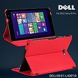 【dell venue 8 pro ケース レザー】手帳カバー デル タブレット カバー 軽量/薄 Dell プロ タブレット スタンドケース マイクロソフト Windows8 タブレット ジャケット DELLV8-01-L40219 (レッド)