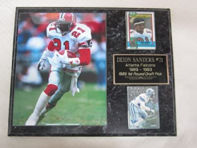 Deion Sanders Atlanta Falcons 2 Card Collector Plaque w/8x10 rookie photo
