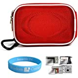 Camera Case for Sony Cybershot DSC-T DSC-W Series (Nylon Red) + Universal LCD Screen Protector Kit + Includes SumacLife Wisdom Courage Wristband
