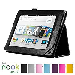 GMYLE(TM) Black PU Leather Slim Folio Magnetic Flip Stand Case Cover with Wake Up Sleep Function for Barnes & Noble Nook HD+ Plus 9 inches Tablet