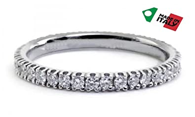Eternity ring,Engagement,rose/white/yellow gold 18kt with diamonds 0.20 ct.Made in Italy