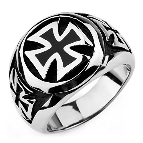 Men'S Large Stainless Steel Ring Silver Black Cross Vintage Biker Size10