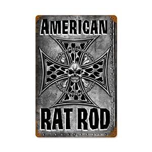 American Rat Rod Motorcycle Garage Shop Vintage Metal Sign 12X18 Steel Not Tin