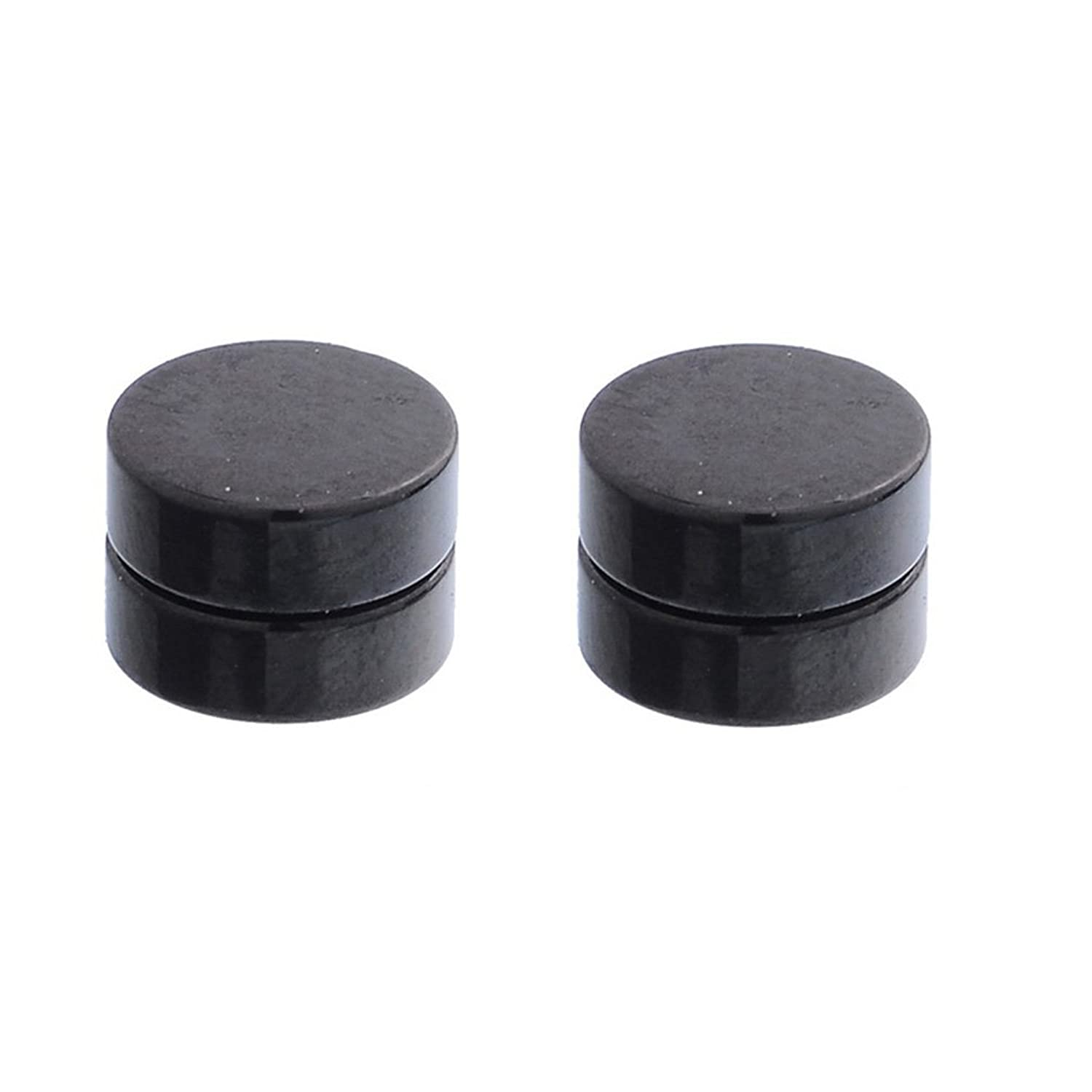 MJARTORIA Unisex Punk Style Black Acrylic Round Magnetic Fake Plugs No Piercing Clip On Stud Earrings