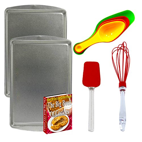 Professional HD Flat Metal Cookie Sheets [BAKING 9pc Package SET ] w/ Silicone Spatula, Wisk, Spoons - Bundle Pack With (2) Cookie Sheets, Silicone Spatula Spoon Turner, Silicone Wisk, 4pc. Unique Magnetic Plastic Measuring Spoon Set From TNC & 200 Cookie Recipes From Scratch Guide (Cow Measuring Spoons compare prices)