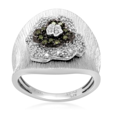 Sterling Silver Green and White Diamond Ring (1/4 cttw, I-J Color, I3 Clarity), Size 8