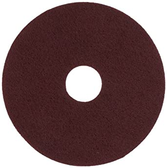 "Glit 11515 TN Polyester Blend Maroon Wood Surfacing Pad, Synthetic Blend Resin, Aluminum Oxide Grit, 15"" Diameter, 175 to 350 rpm (Case of 10)"