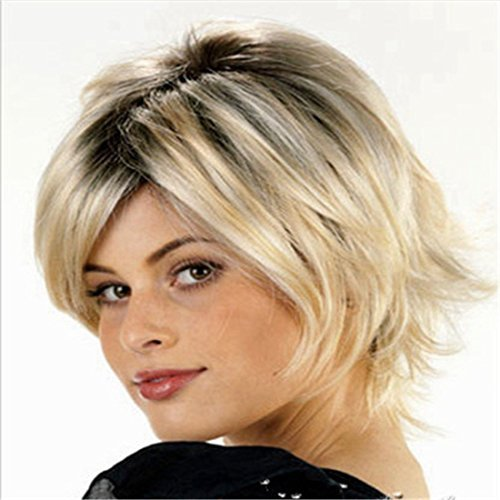 Women's Wig Short Straight Hair Two Tone Brown and Gold Ombre Wig Heat Resistant Fiber Synthetic Wigs