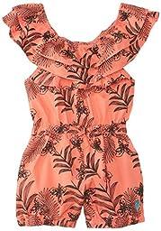U.S. POLO ASSN. Little Girls\' Floral Print Poplin Romper, Calypso Peach, 6