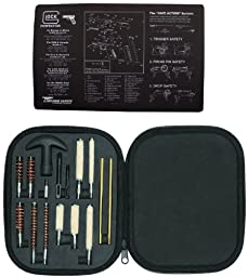 Ultimate Arms Gear Glock Pistol Armorer Kit Includes: Glock Original Cleaning Work Tool Bench Gun Mat + Professional Tactical Cleaning Tube Chamber Barrel Care Supplies Kit Deluxe 17 pc Handgun Pistol Kit in Compact Molded Field Carry Case for .22 / .357