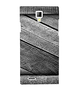 PrintVisa Grey Wooden Pattern 3D Hard Polycarbonate Designer Back Case Cover for Micromax Canvas Xpress A99