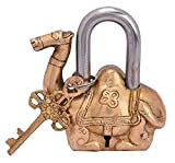 Camel lock antique look with two key collectible made of Brass, use for home, office,collection,gift,decorative art Bharat Haat 5085