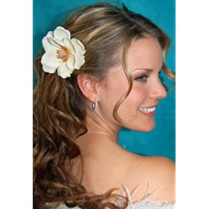 NEW Ivory White Magnolia Flower Hair Clip, Limited.