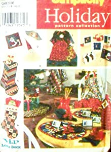 Simplicity 7326 Sewing Pattern Christmas Stocking Treeskirt Ornaments Treetop Apron Gift Bags Tags Greeting Cards