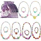 Kilofly Princess Party Favor Jewelry Value Pack, Necklace & Bracelet, 6 Sets