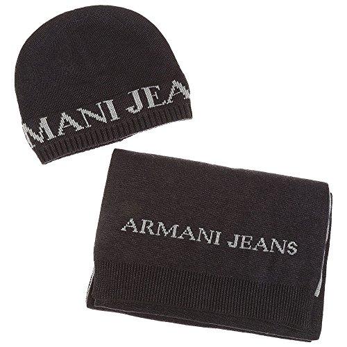 Armani Jeans completo cuffia sciarpa uomo bicolor grigio