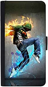 Snoogg Dancer Rager Graphic Snap On Hard Back Leather + Pc Flip Cover Htc M7