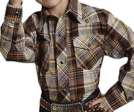 Roper Boys Brown Cotton Blend LS Tobacco Plaid Snap Button Western Shirt