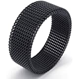 KONOV Jewelry 8mm Flexible Stainless Steel Screen Mens Womens Ring, Woven Mesh Band, Black