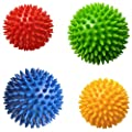 Pack of 4 Spiky Massage Balls, Hard & Soft Combo, 2 of 7.5cm & 2 of 9cm, Stress Reflexology, Porcupine Sensory Ball Set