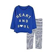 Big Elephant 2 Pieces Baby Girls Long Sleeve Printed Top Stripe Pants Set Blue D61