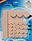 Felt Pads - 38 Pack Various Sizes, Self Stick Heavy Duty Chair Floor Protector, Chair Glides For Furniture, Bar Stools, Lamps, TV's - Protective Pads - ONLY Lifetime Guarantee On Our Chair Felt Pads & Hardwood Floor Protector