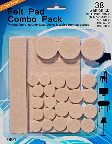 Felt Pads - 38 Pack Various Sizes, Self Stick Heavy Duty Chair Floor Protector, Chair Glides For Furniture, Bar Stools, Lamps, TV