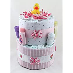 Sunshine Gift Baskets - Little Ducky Pink Diaper Cake Gift Set