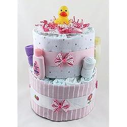 Sunshine Gift Baskets - Little Ducky Pink Diaper Cake Gift Set