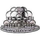 Ramson Stainless Steel Dinner Set, 124 Pieces - Steel