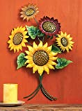 Colorful 3-D Iron Sunflower Wall Art Decoration