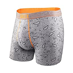 Saxx Mens Platinum Fly Boxers Underwear Large Mid Heather Paisley