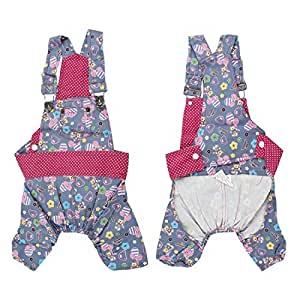 Rabbit Letter Print Pet Dog Suspenders Jumpsuit Romper Light Blue S